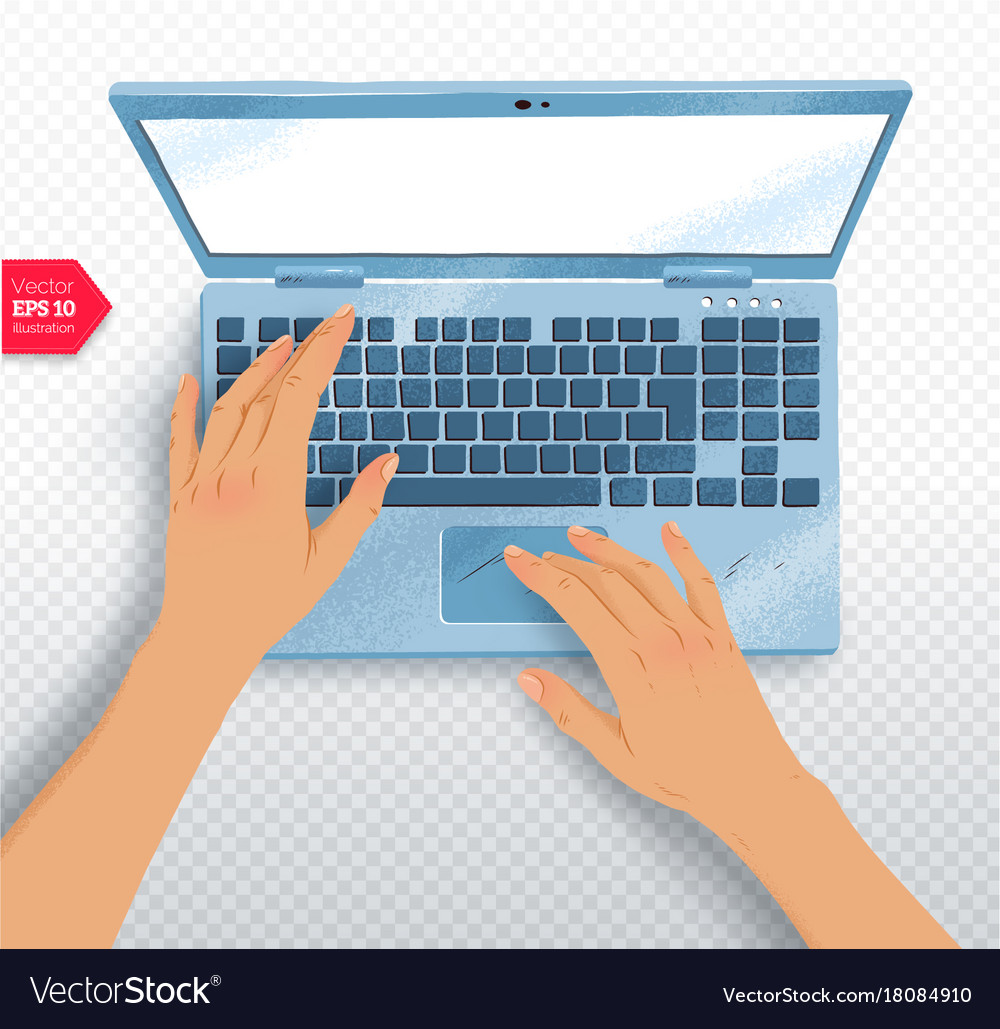 Hands with laptop vector image