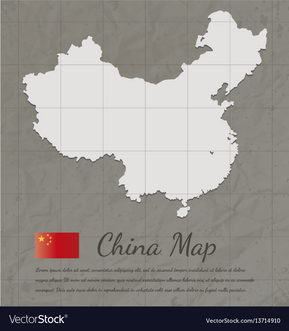 Vintage china map paper card map silhouette vector image