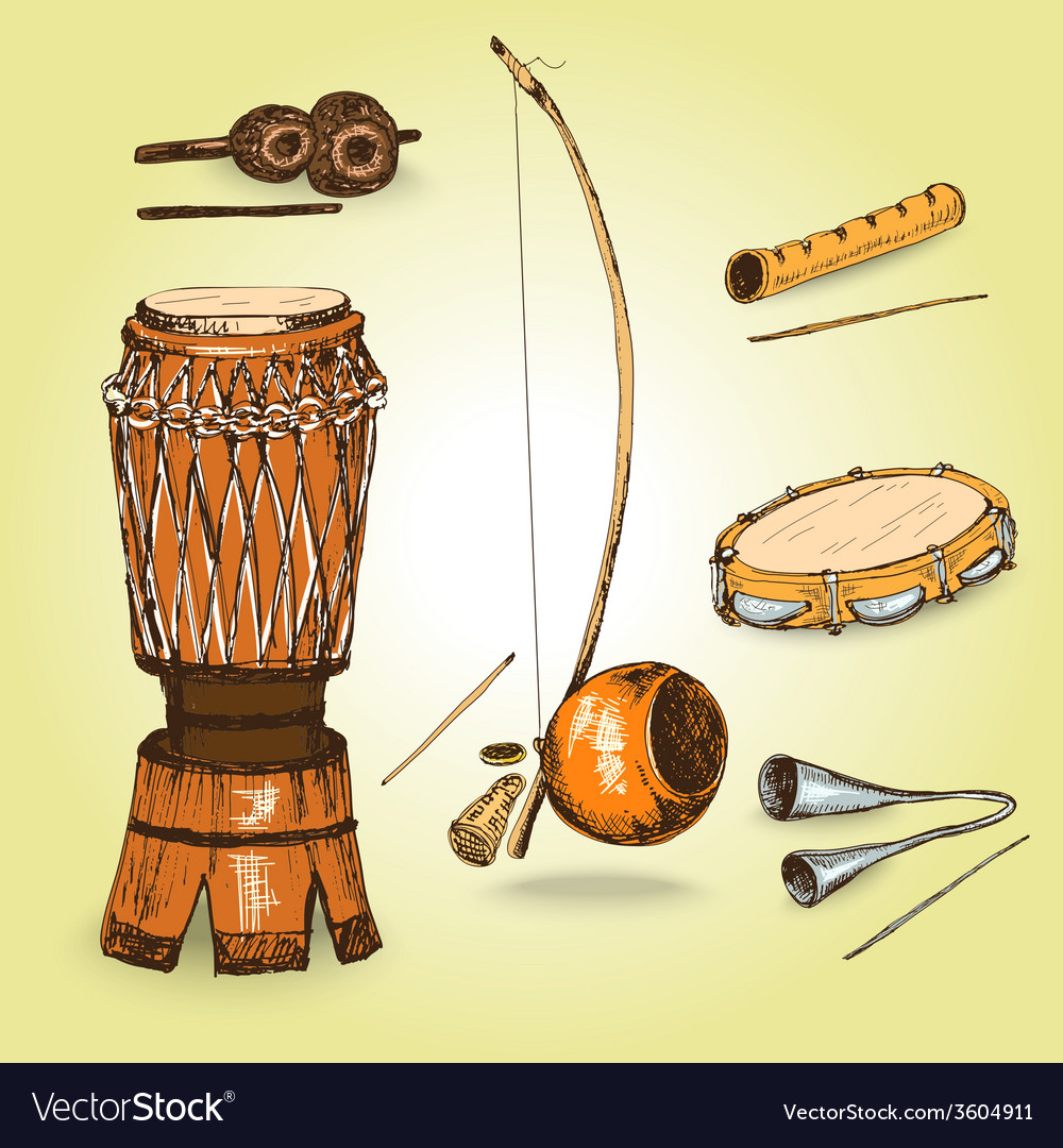 Collection of musical instruments of capoeira vector image
