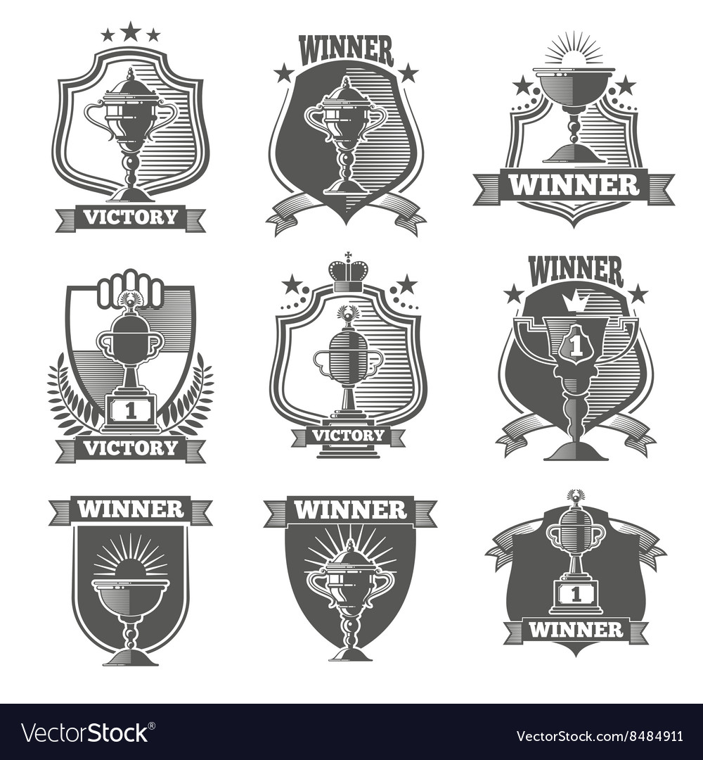Trophy cup champions labels logos emblems vector image
