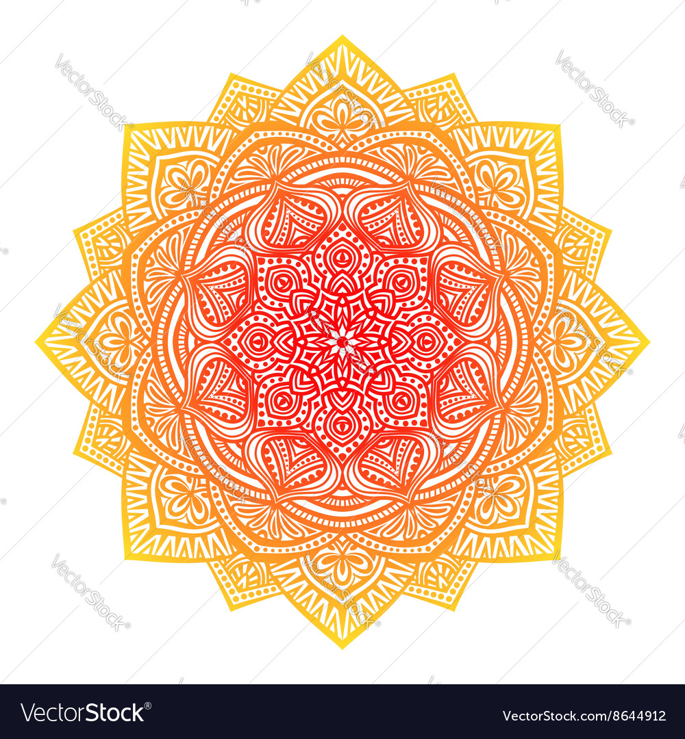 Floral round ornament white background vector image