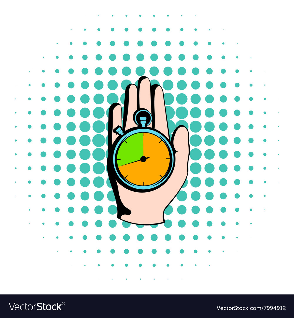 Hand holding a stopwatch icon comics style vector image