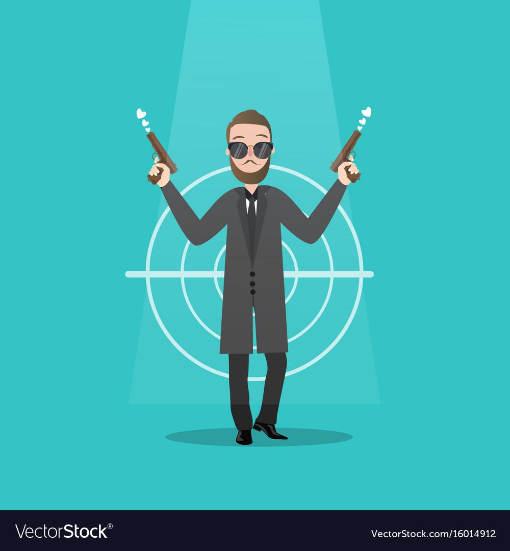 Man holding two guns serious gangster criminal vector image