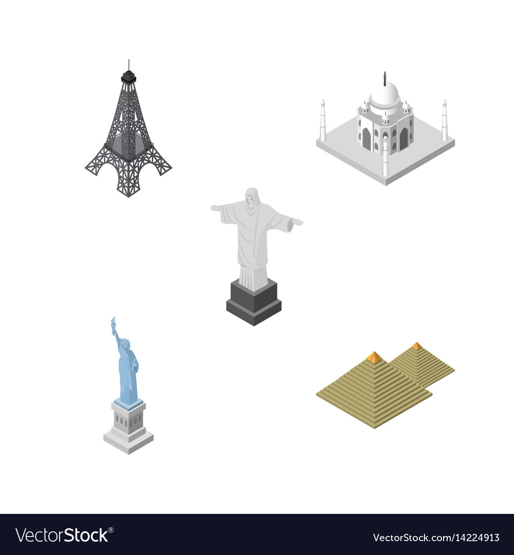 Isometric architecture set of paris new york vector image