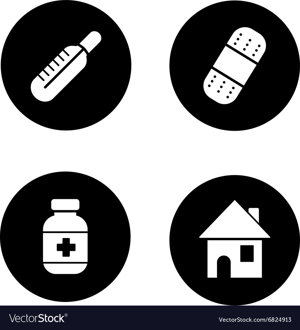 Medicine chest items black icons set vector image