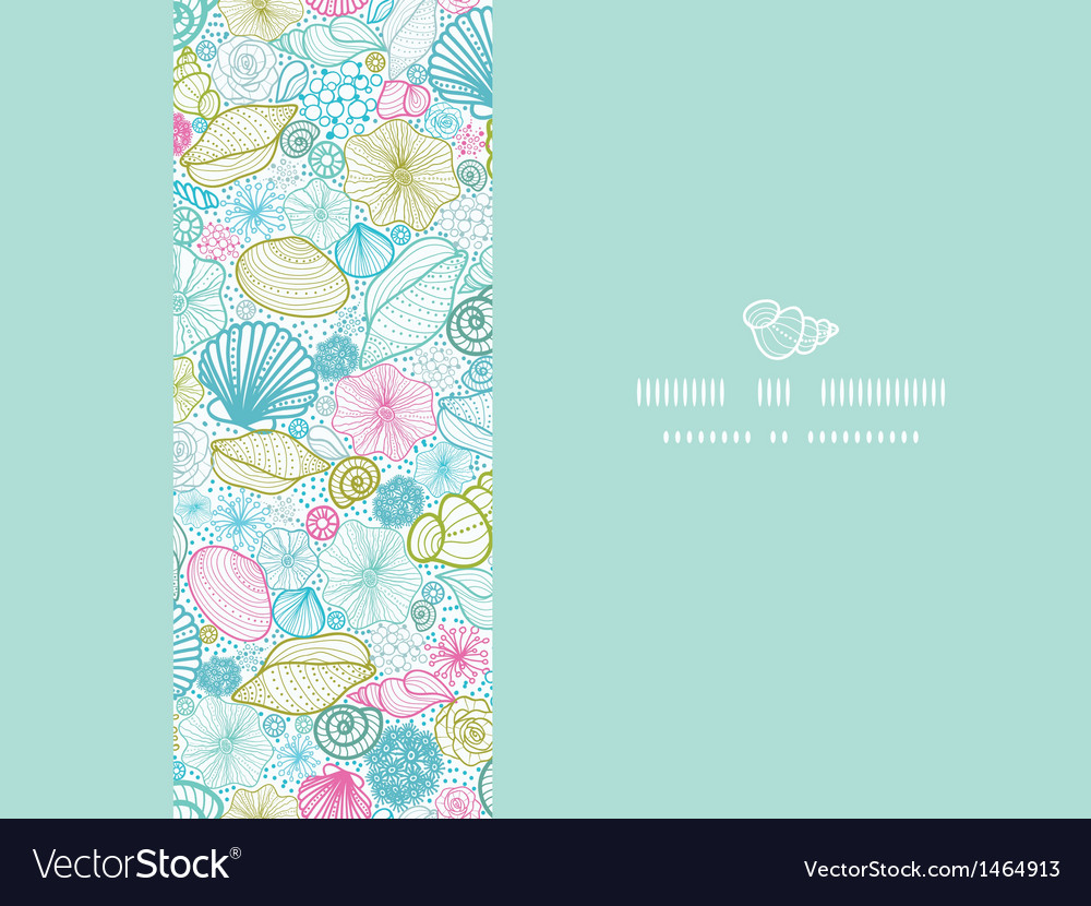 Seashells line art horizontal decor seamless vector image