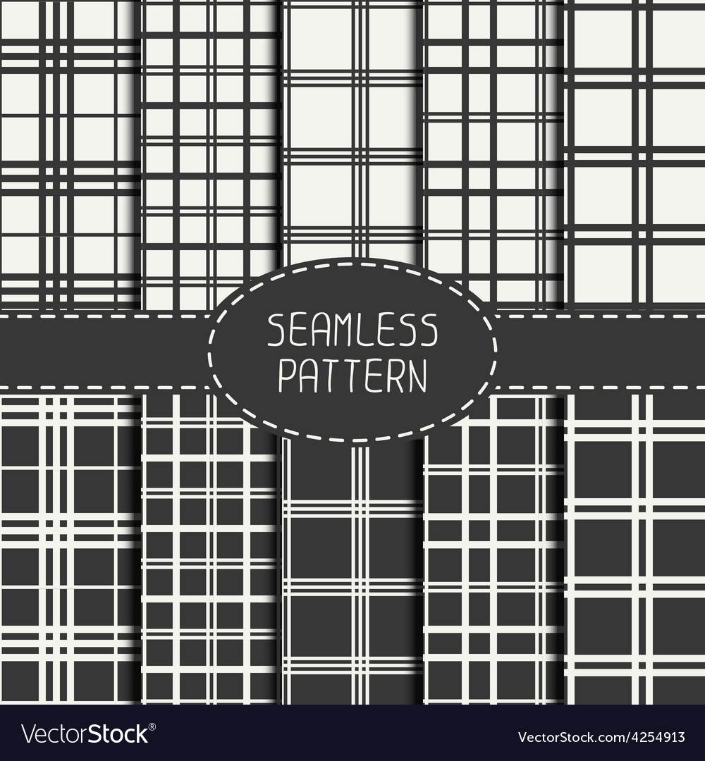 Set of striped geometric hipster seamless linear vector image