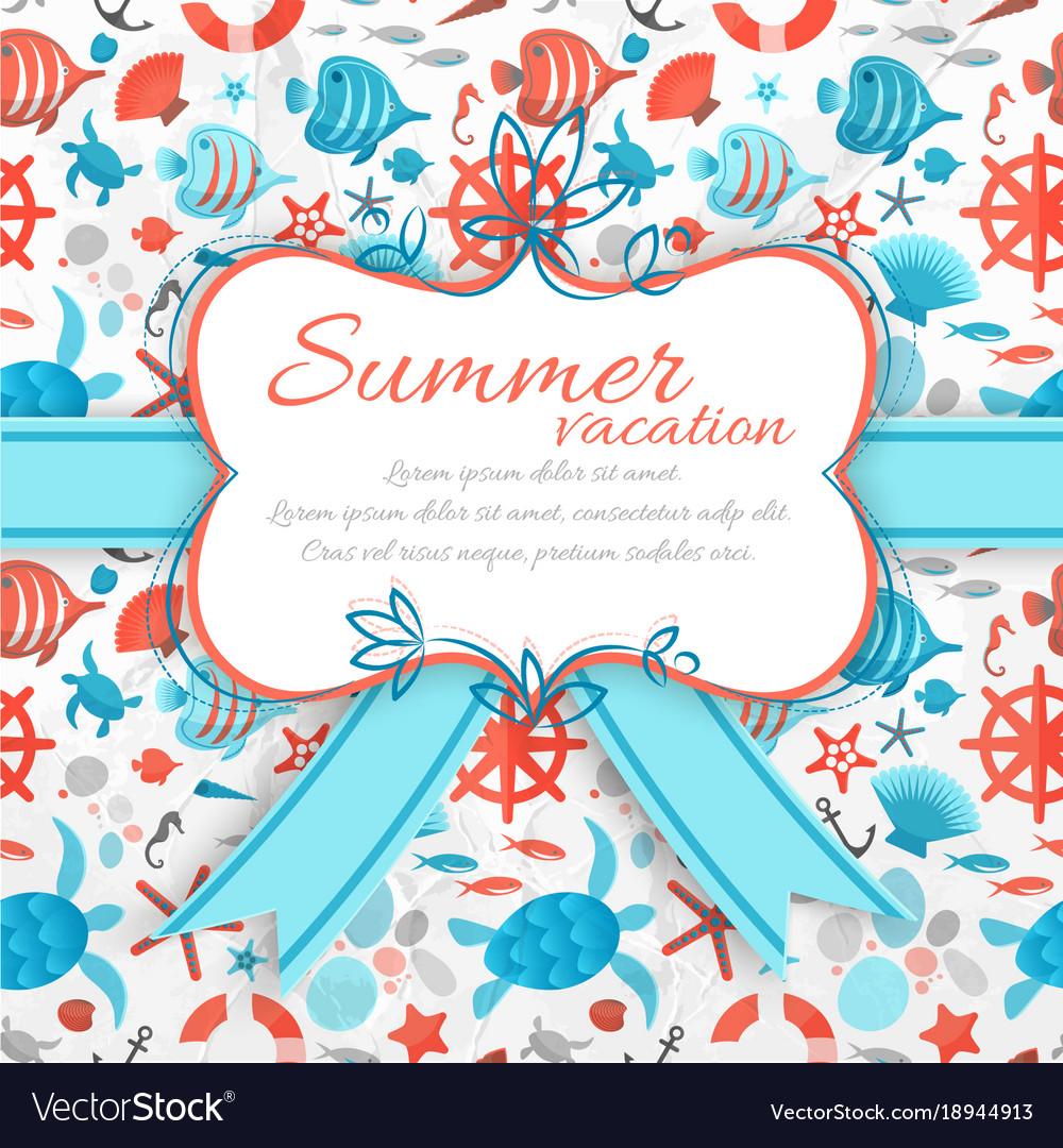Summer vacation sticker on seamless pattern vector image