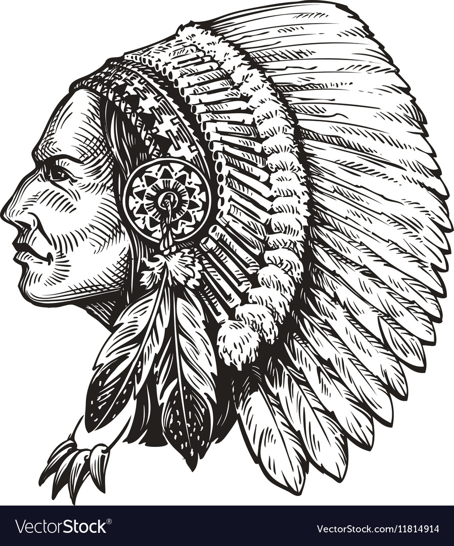 American indian chief Hand-drawn sketch vector image