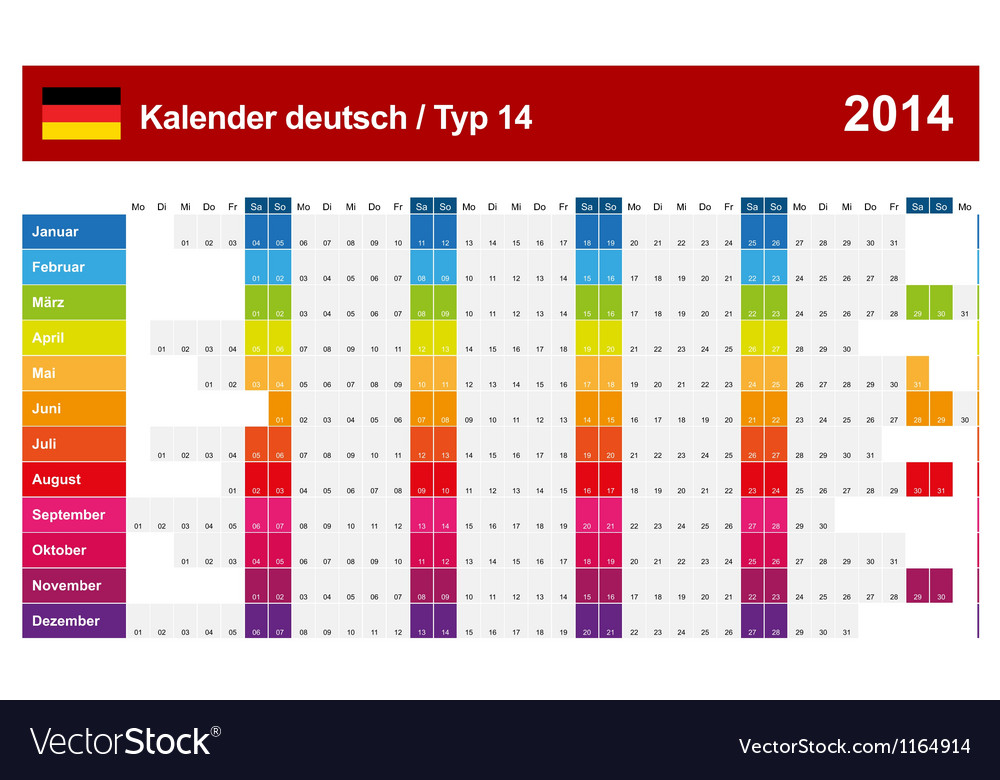 Calendar 2014 German Type 14 vector image