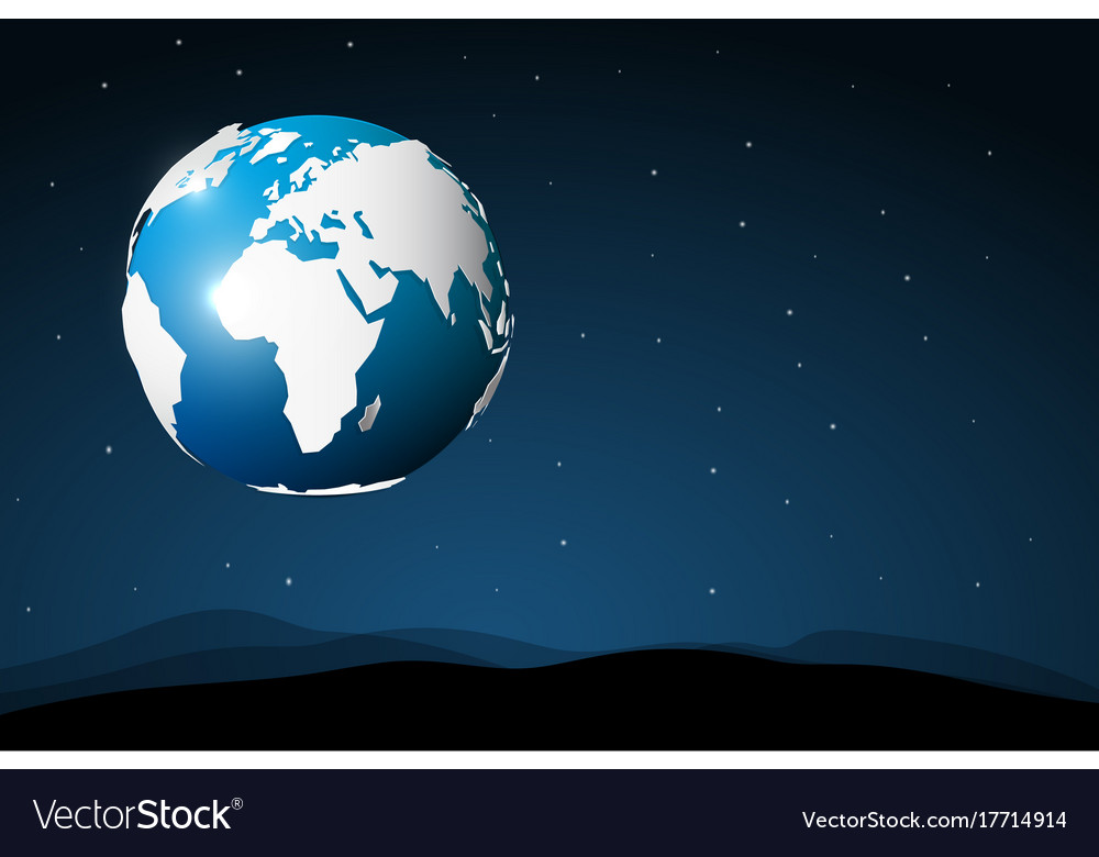 Planet earth in space abstract view from moon vector image