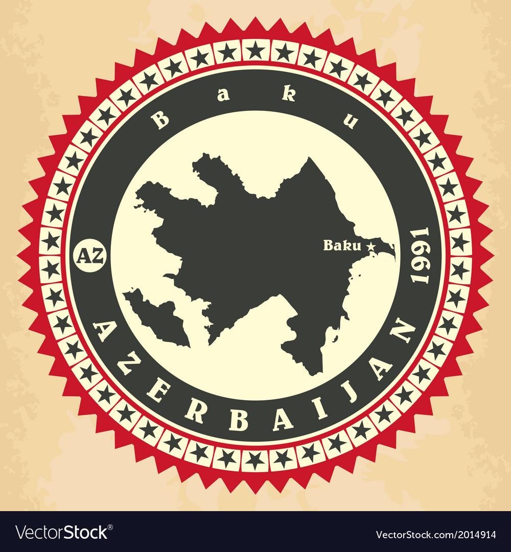 Vintage label-sticker cards of Azerbaijan vector image