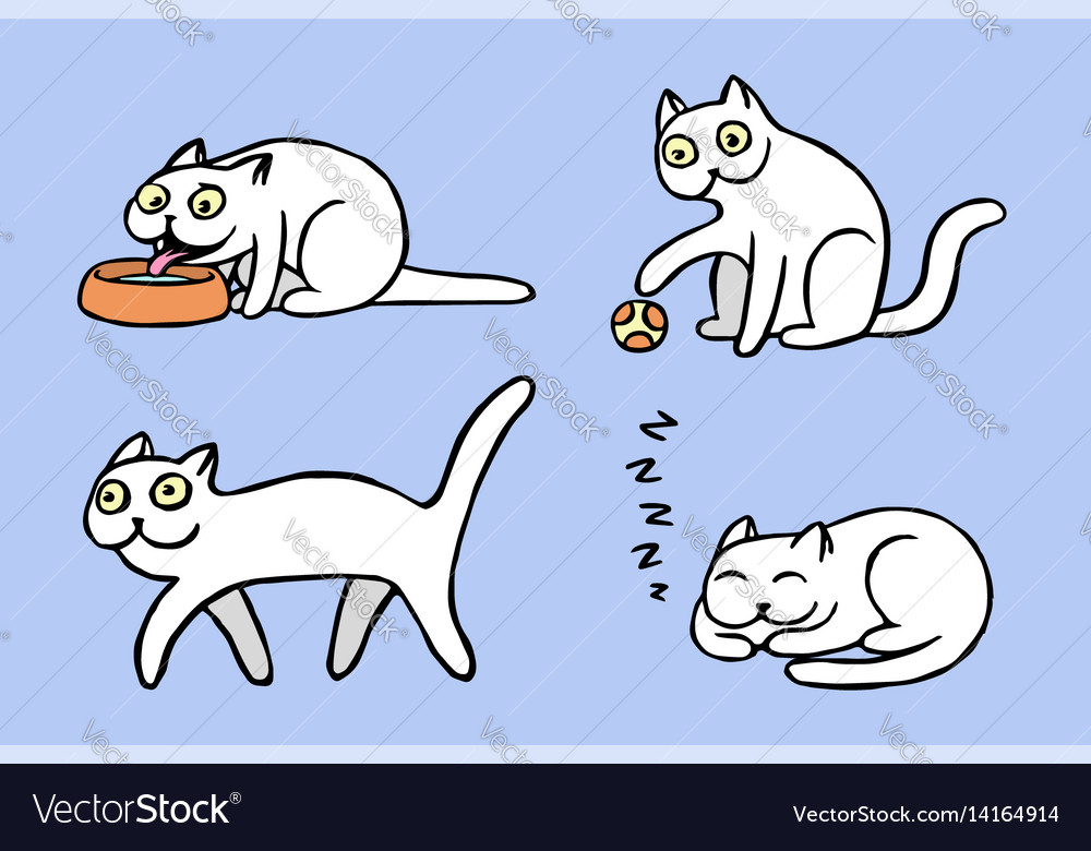 White pussycat emoticons set isolated vector image