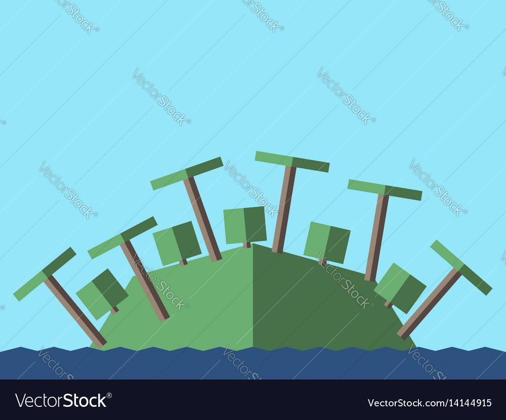 Island palms bushes vector image