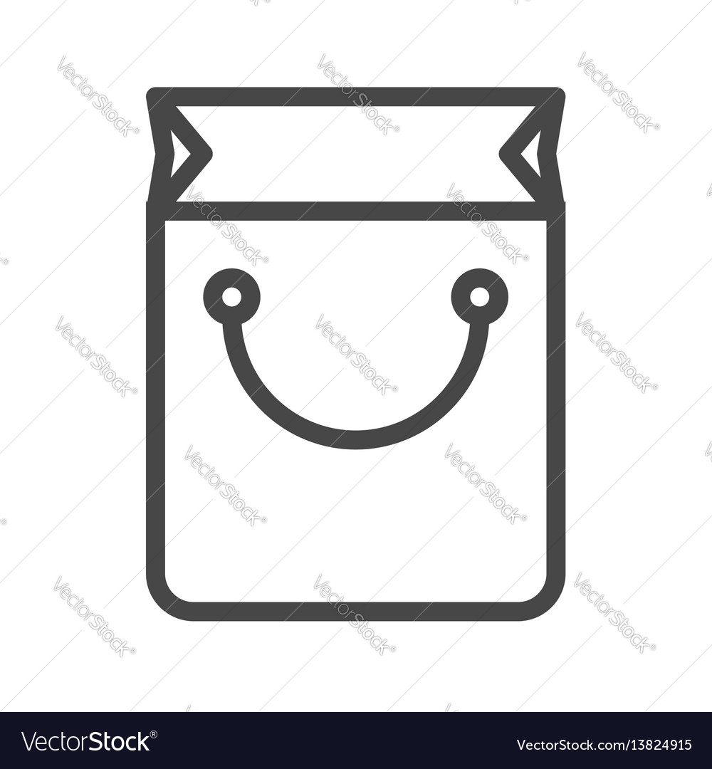 Shopping bag thin line icon vector image
