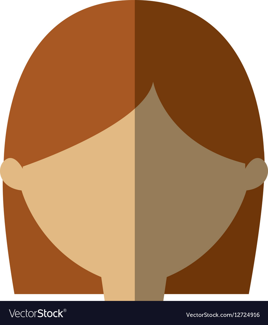 Avatar woman face head graphic shadow vector image