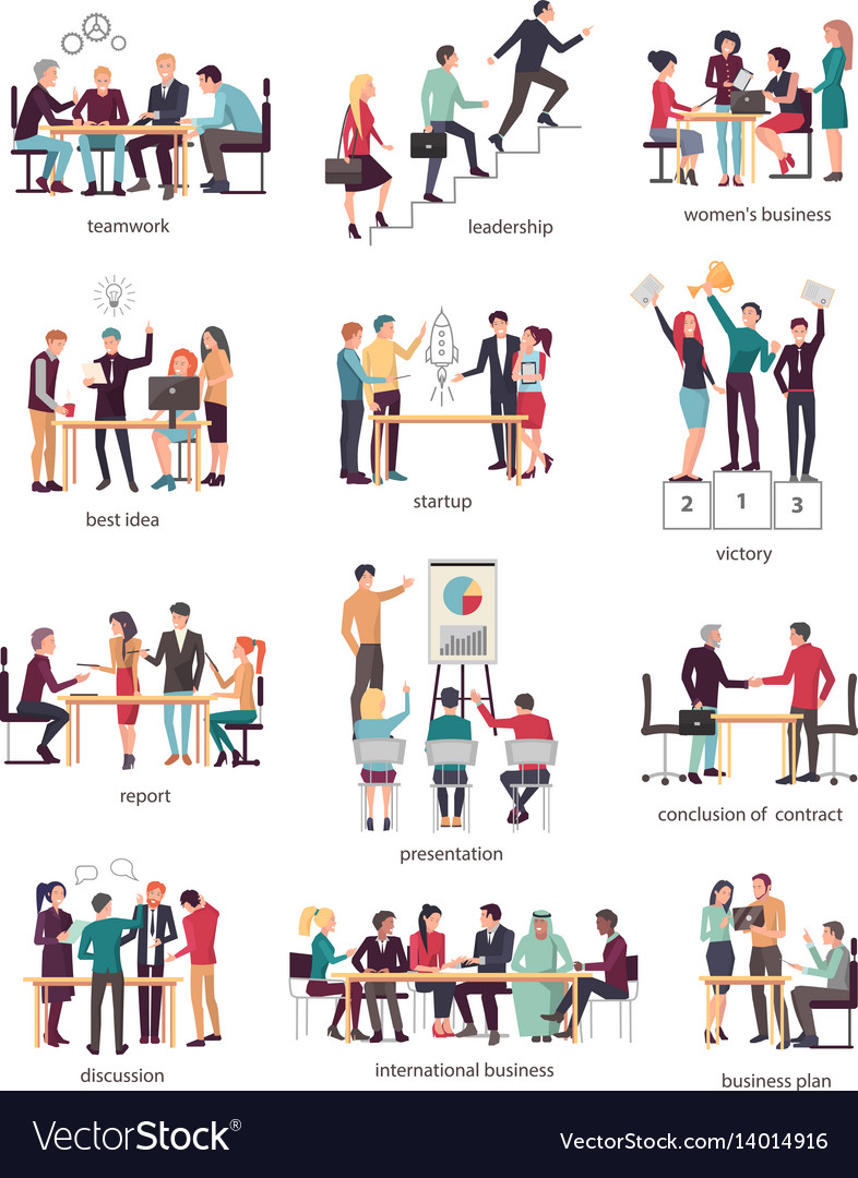 Development stages of business team in company vector image