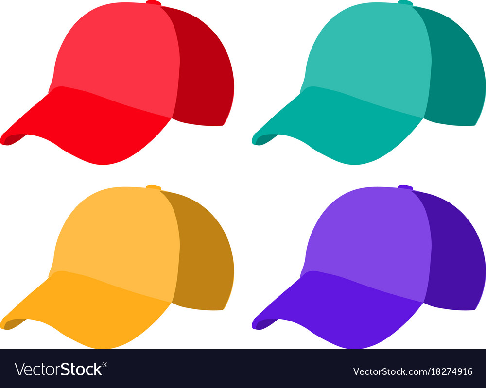 Set of realistic baseball cap templates colorful vector image