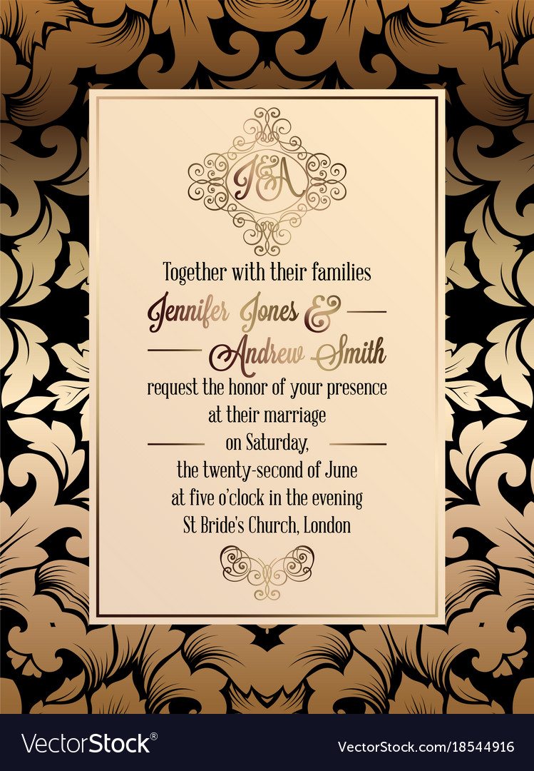 vintage baroque style wedding invitation card vector image - Vintage Style Wedding Invitations