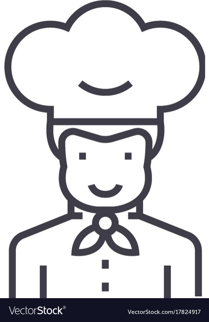 Cook line icon sign on vector image