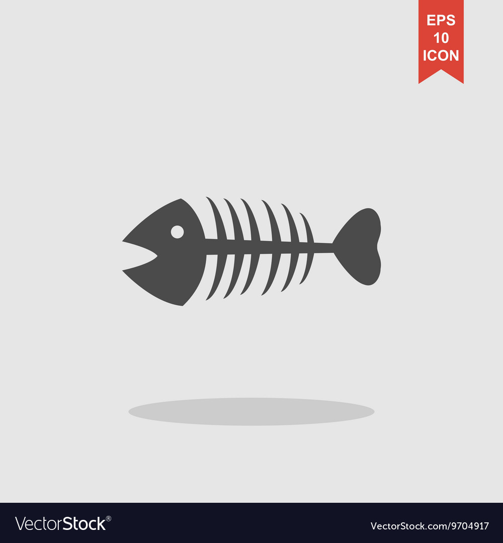 Fish skeleton Flat vector image