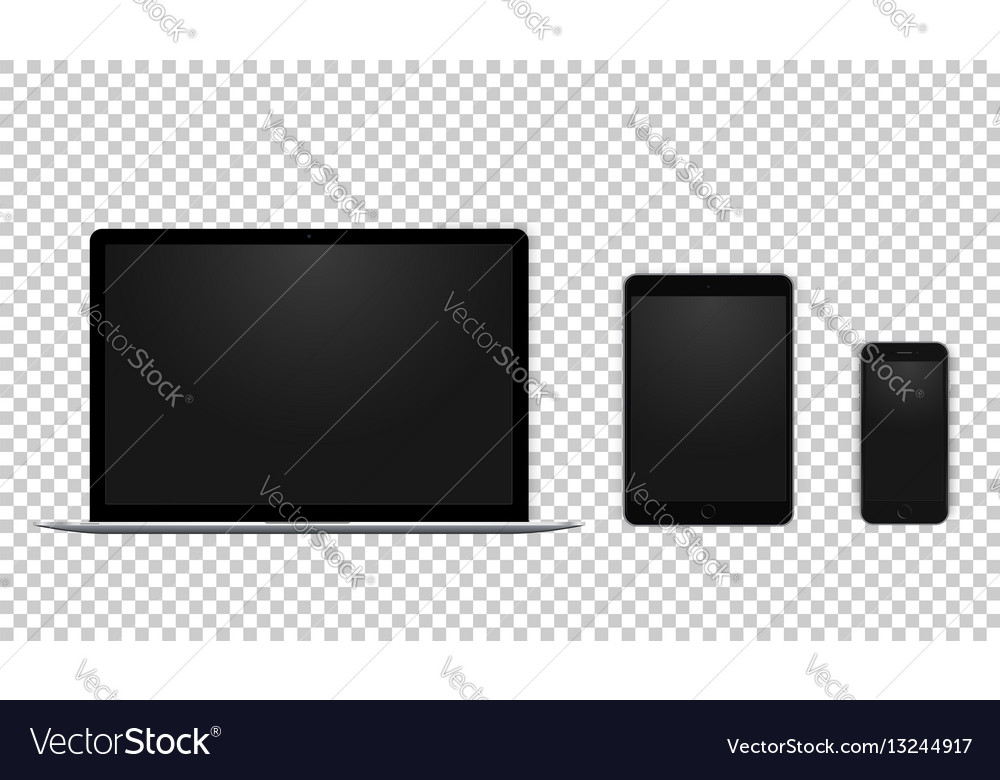 Set of black laptop tablet and phone all single vector image