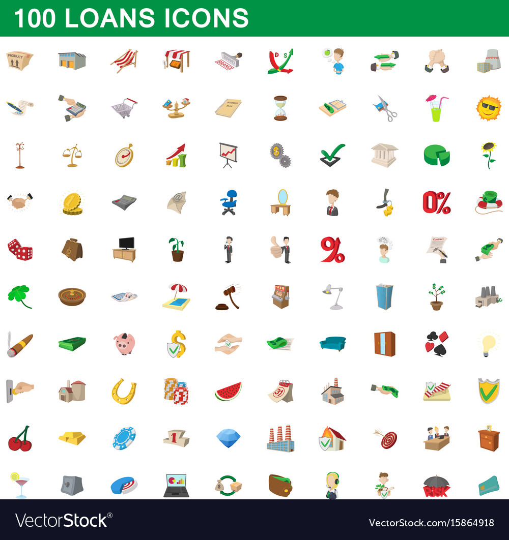 100 loans icons set cartoon style vector image