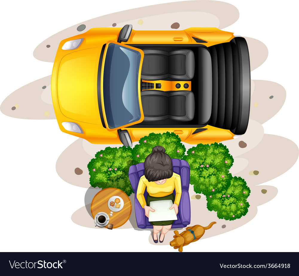A topview of a lady reading outdoor vector image