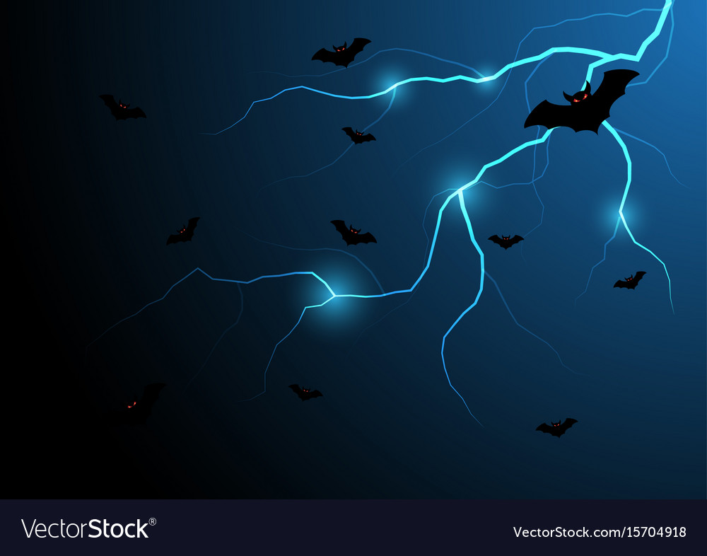 Halloween bat fly with thunderbolt and sky vector image