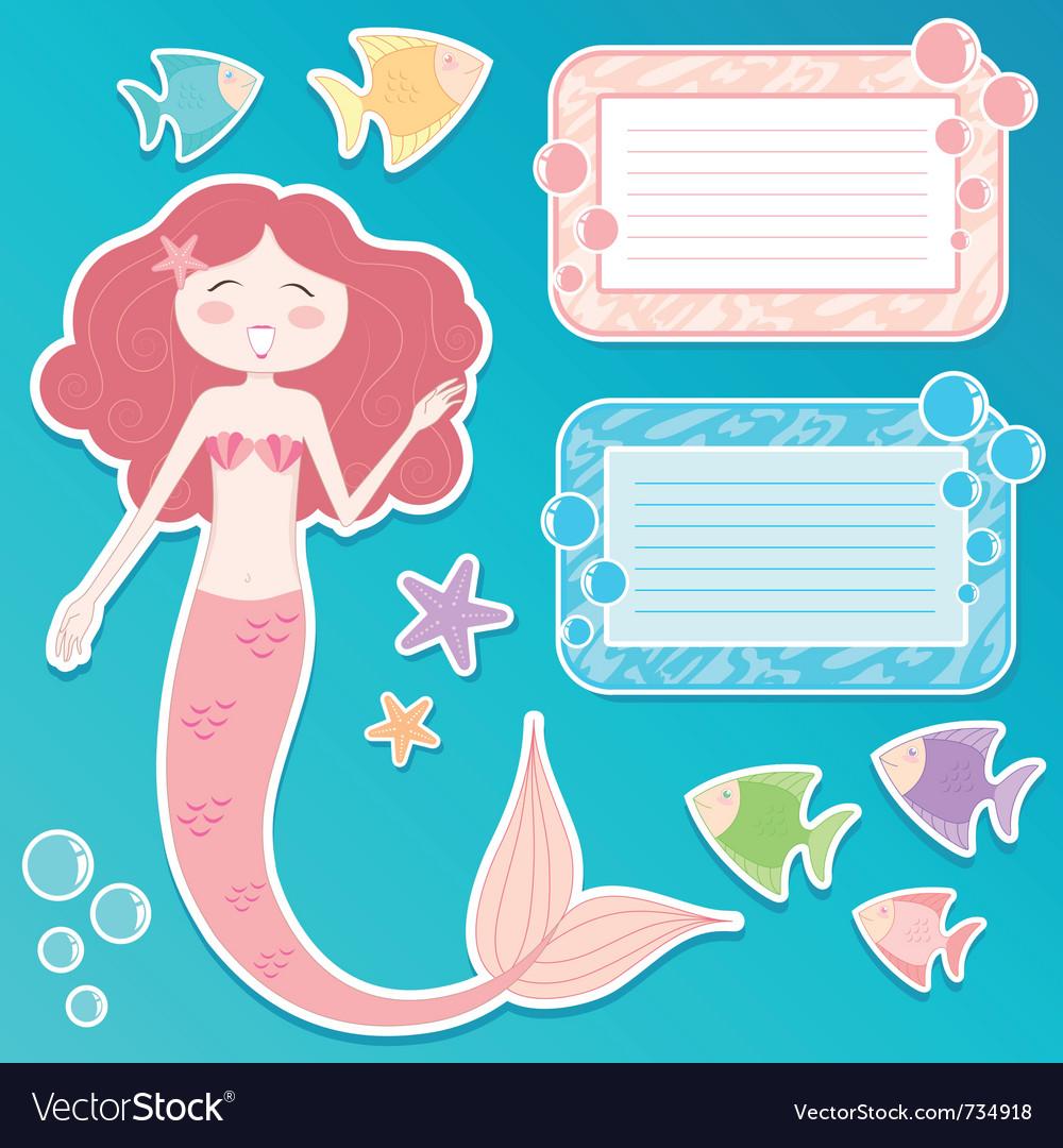 Mermaid set vector image