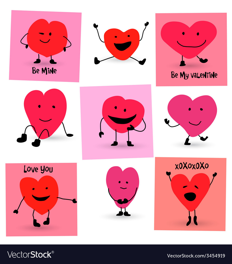 Cartoon Characters Valentines Day : Valentines day hearts cartoon characters vector image
