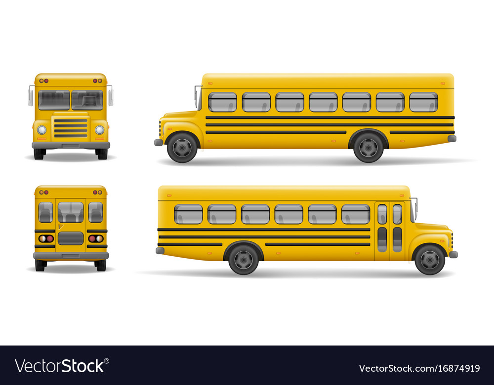 Yellow school bus front back and side view vector image
