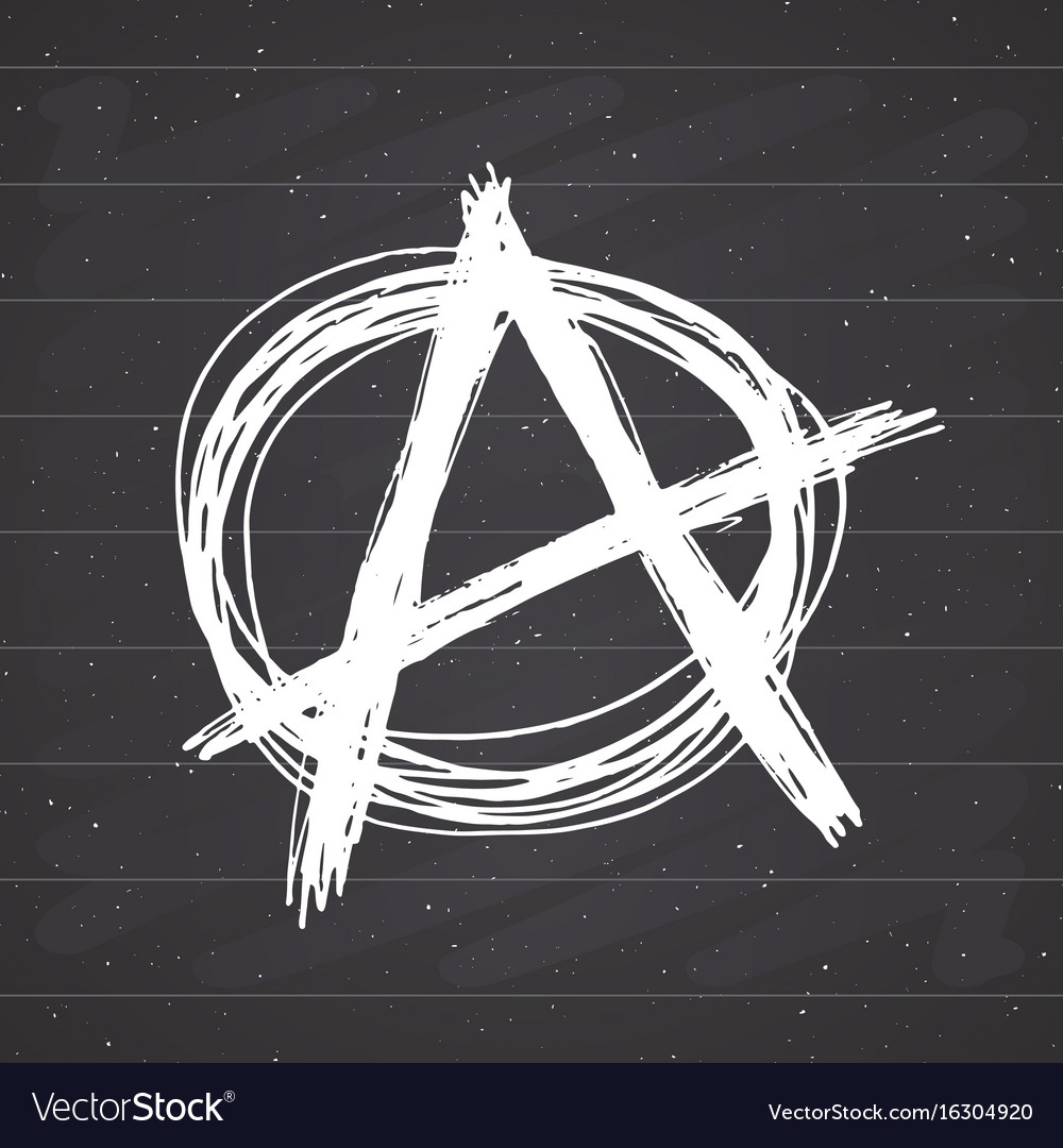 Anarchy sign hand drawn sketch textured grunge vector image