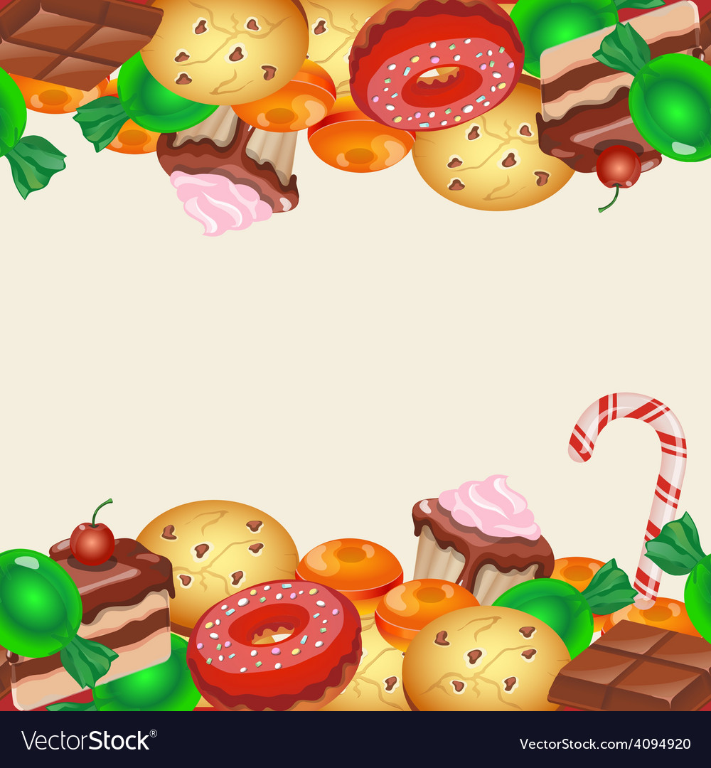 Seamless pattern colorful sticker candy sweets vector image