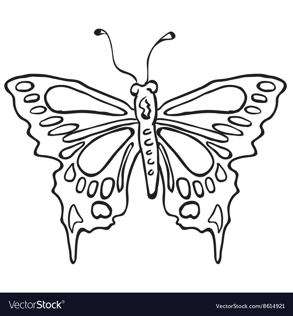 simple black and white butterfly royalty free vector image