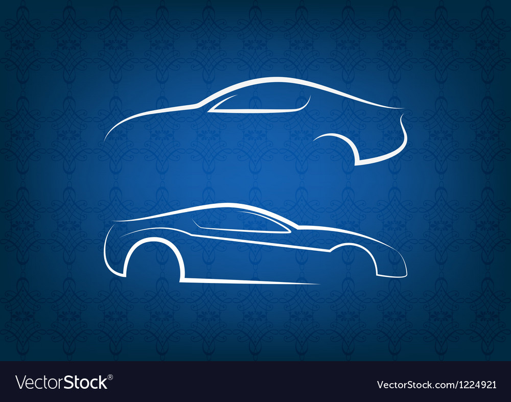 White car logos on blue floral background vector image