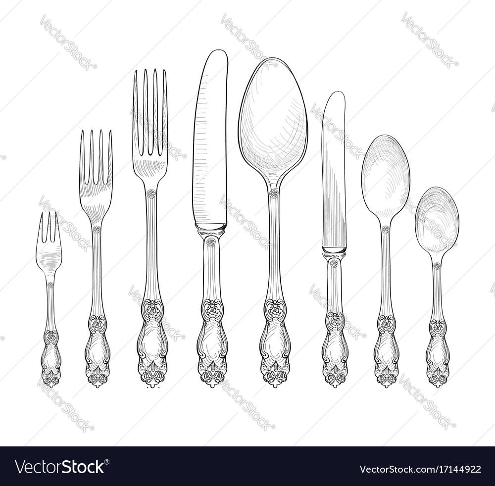 sc 1 st  VectorStock & Table setting fork knife spoon plate sketch set Vector Image