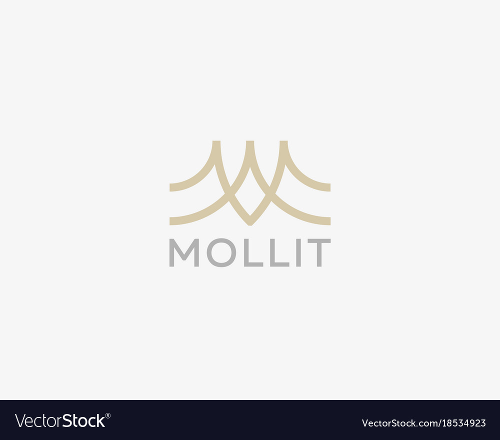 Abstract letter m logo design line creative wave vector image