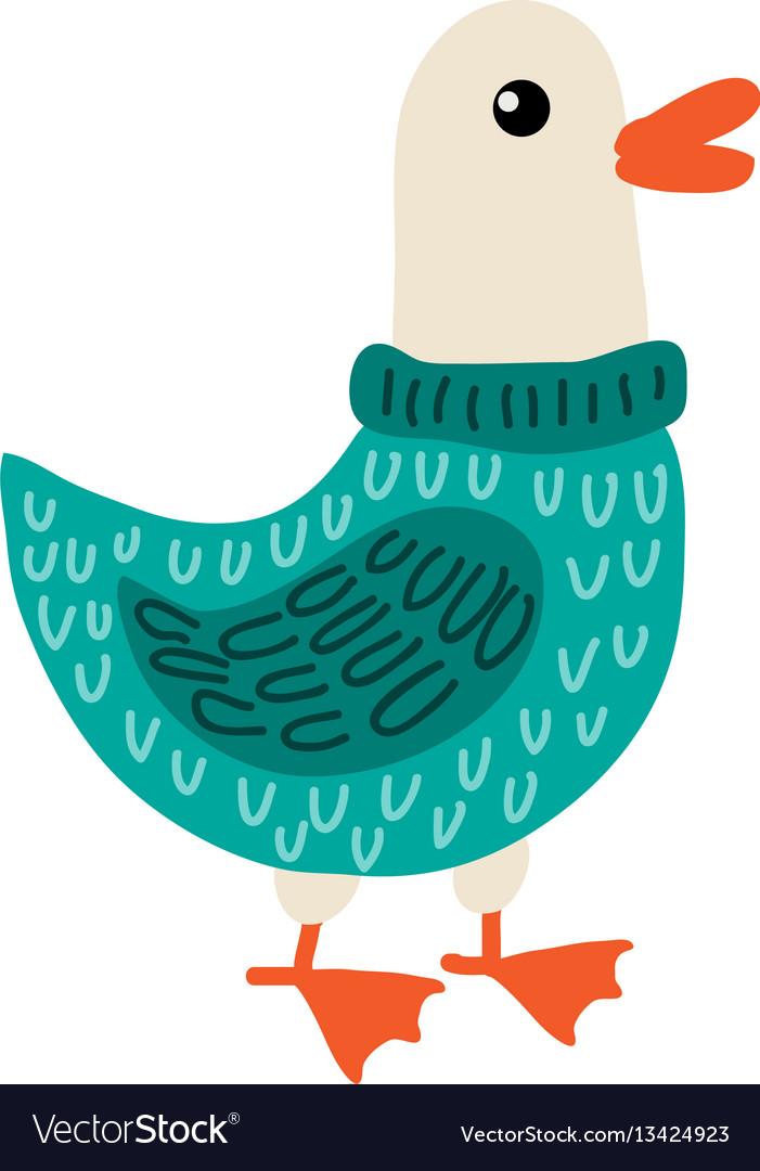 Cute cartoon goose vector image