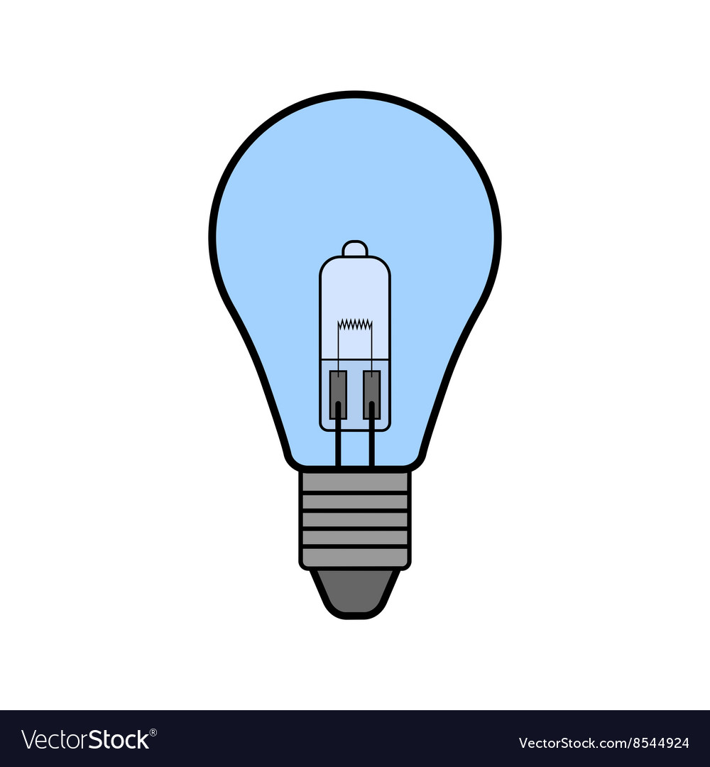 icon lighting. halogen light bulb flat color icon lighting vector image i