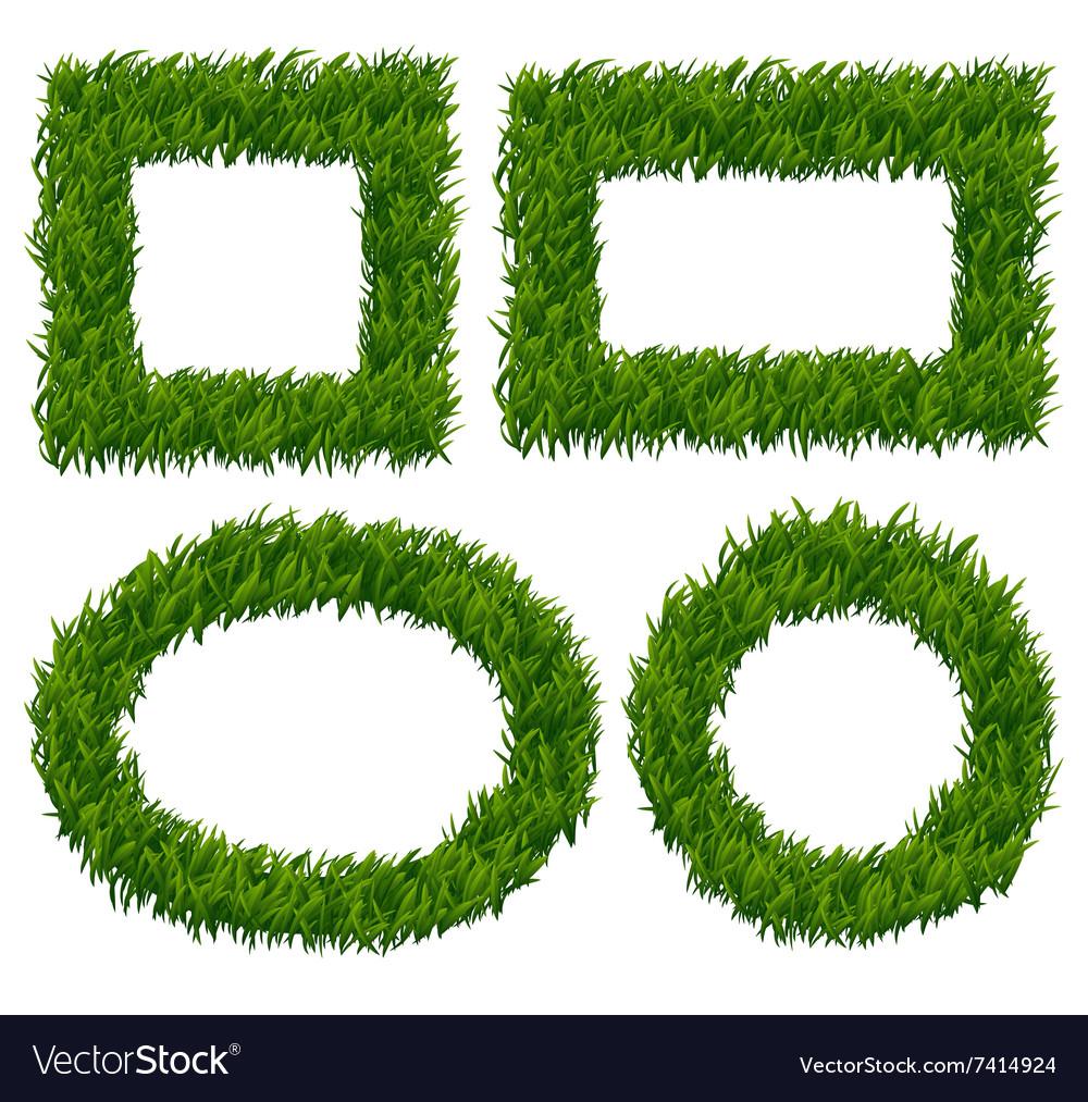Green grass frames set vector image