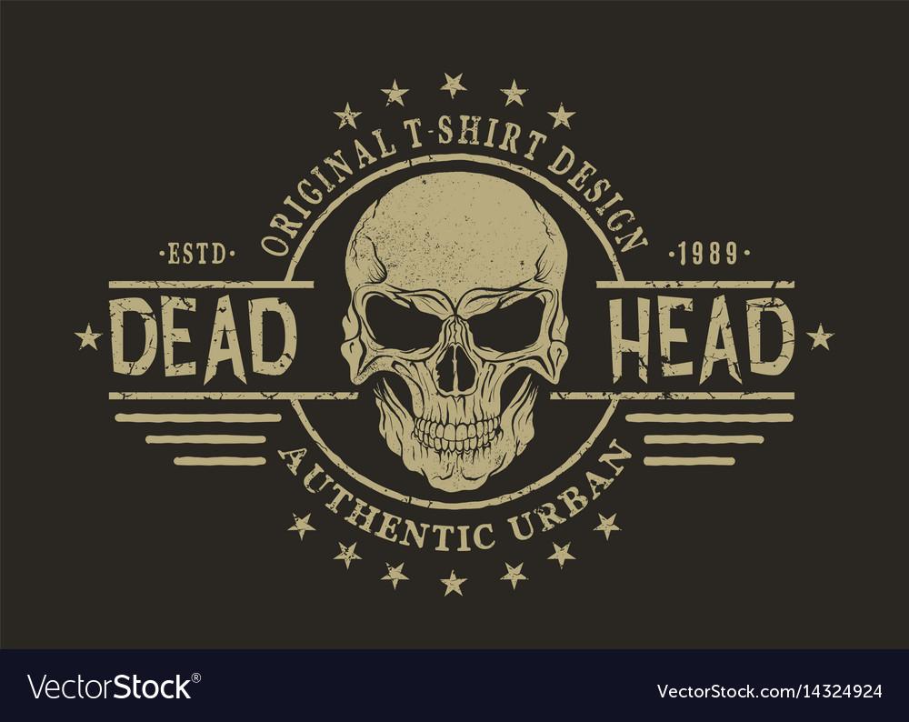 Retro emblem with skull vector image