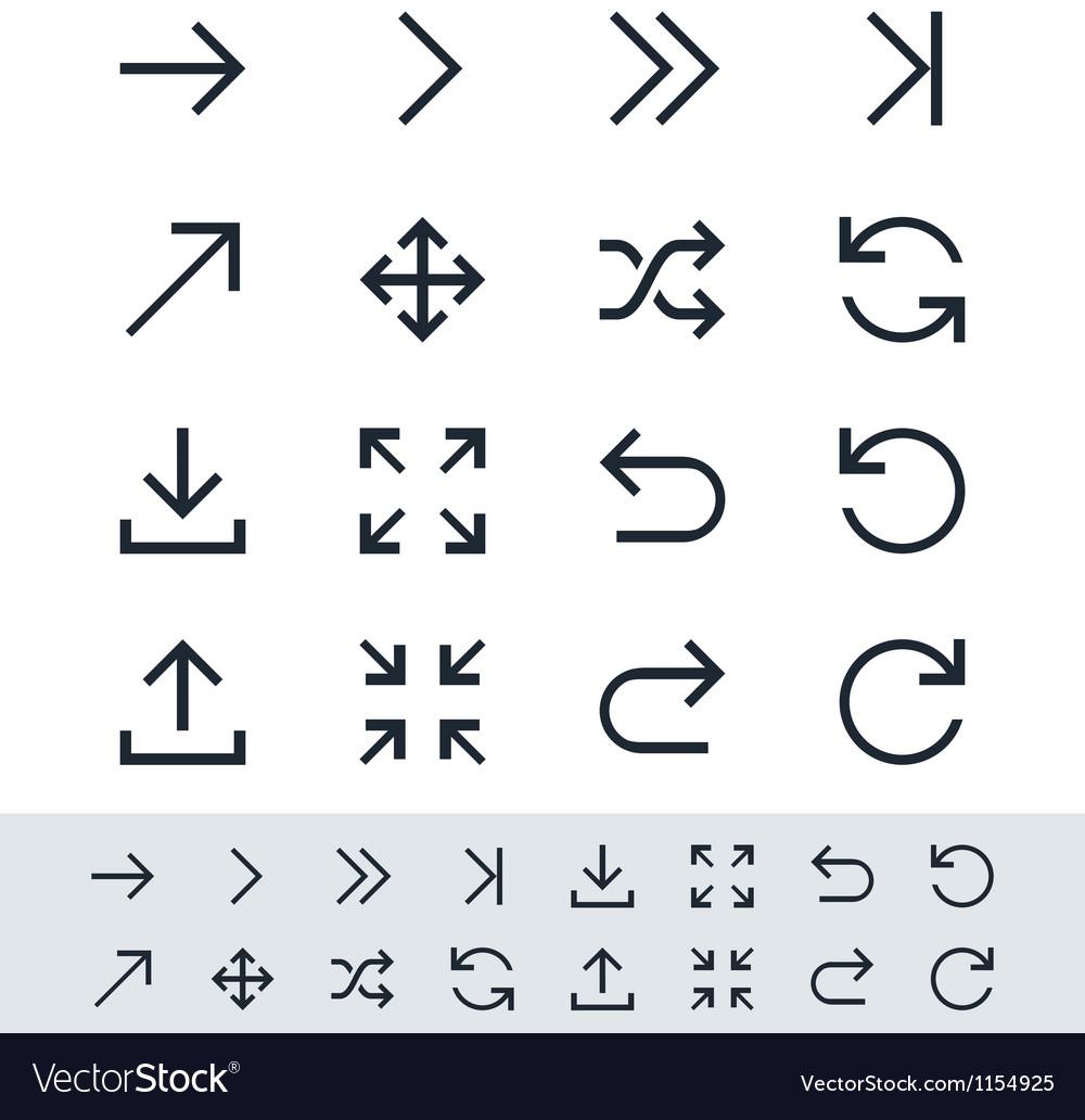 Arrow symbol icon set simplicity theme vector image