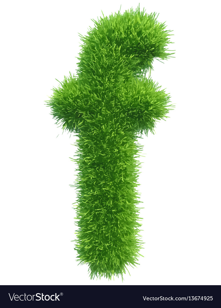 Small grass letter f on white background vector image