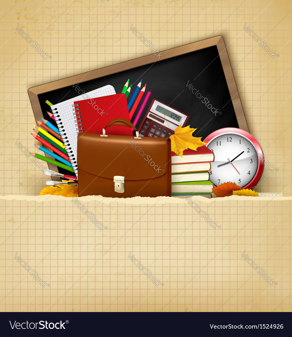 Back to school Background with school supplies and vector image