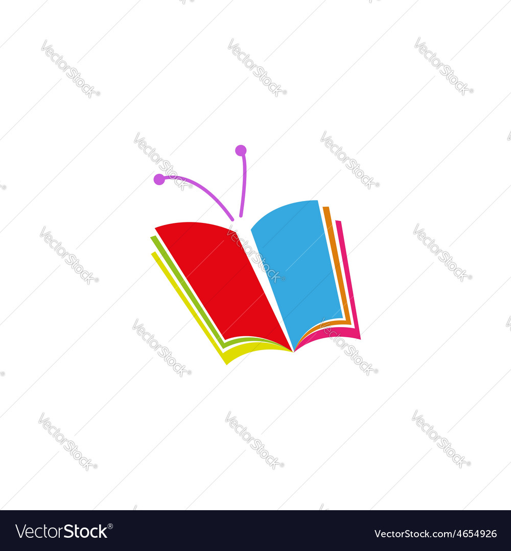 Book logo in the form of butterfly a symbol of vector image biocorpaavc Gallery
