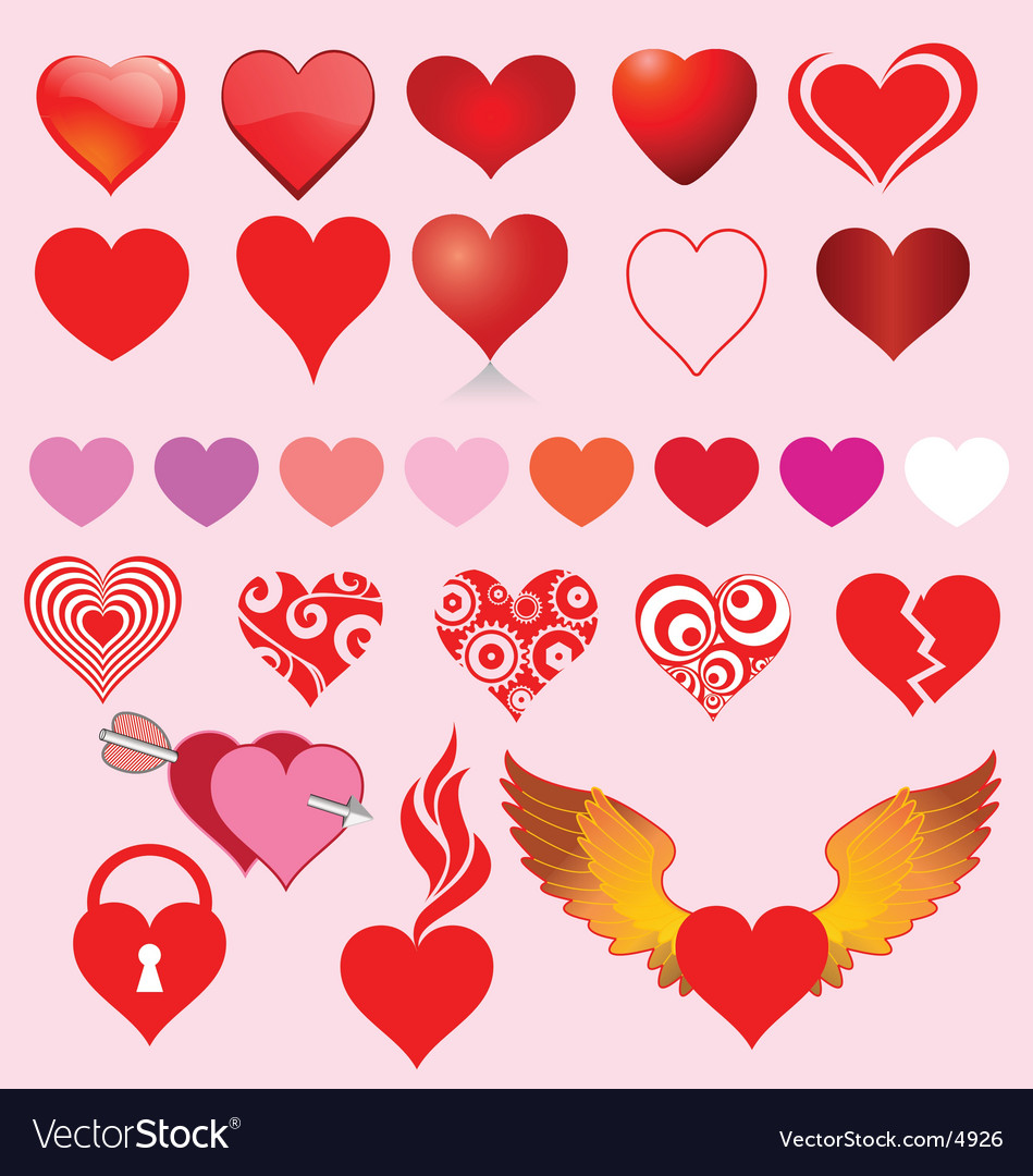 Heart variants vector image