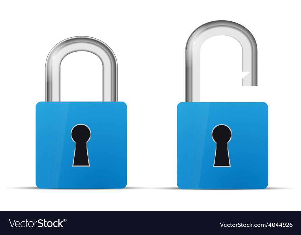 Opened and closed blue realistic lock icon vector image