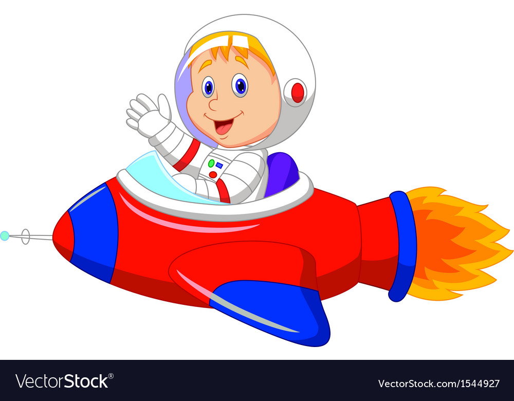 Cartoon Boy Astronaut In The Spaceship Vector Image