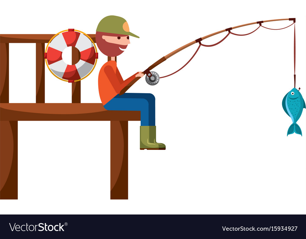 Fisherman in wooden pier avatar character vector image